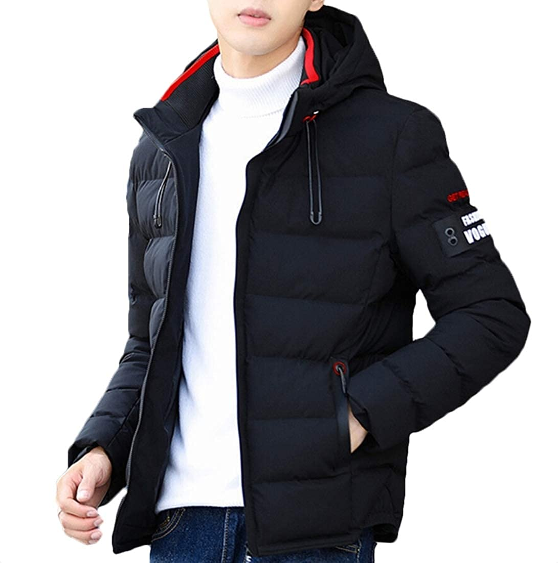 ouxiuli Outwears Mens Winter Hoodie Packable Quilted Parka Puffer Down Lightweight Outdoor Outwears