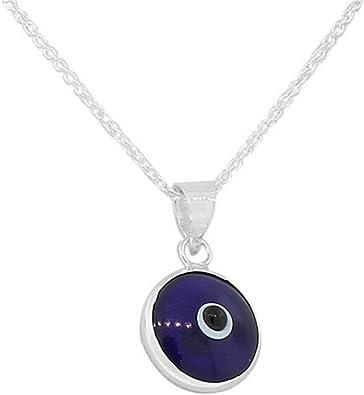 Sterling Silver Circle Evil Eye Pendant Charm