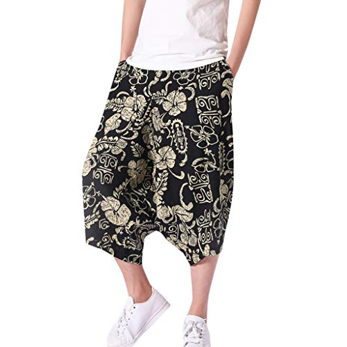 Corriee Cotton Linen Shorts for Men Mens Baggy Calf-Length Harem Pants Loose Solid Color Trousers with Pockets