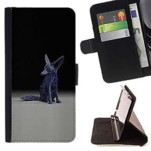 Momo Phone Case / Flip Funda de Cuero Case Cover - Fennec Fox Estatua Arte Moderno Universo Blue Stars - Sony Xperia M5
