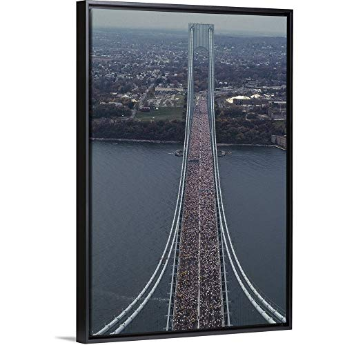 (Steven E. Sutton Floating Frame Premium Canvas with Black Frame Wall Art Print Entitled Running on The Verrazano Bridge competing in The 1994 NYC Marathon 12