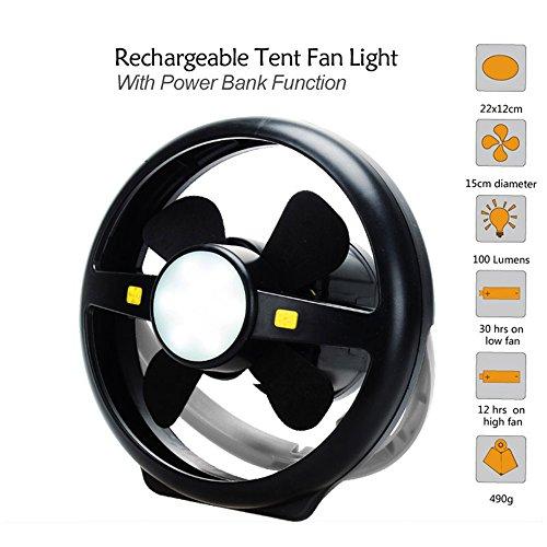 (KOLSOL Camping Tent USB Fan Light 10 LED Rechargeable Lantern Portable Bright Lamp Power Bank Function)