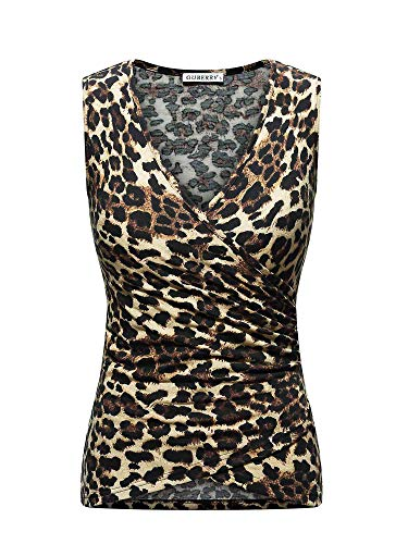 GUBERRY Animal Print Tops for Women V Neck Wrap Sexy Ruched Tank Shirts Blouse