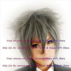 HOT sexy Light Dark Dark Gray Fluffy Straight Anime cosplay wigs party Masquerade boys girls 30cm