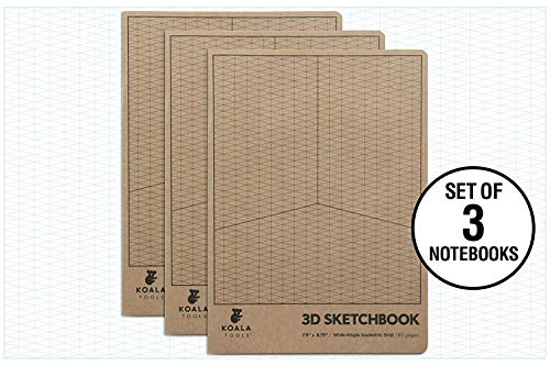 - Koala Tools | Isometric Graph Paper Notebook (3 Pack) | 7.5