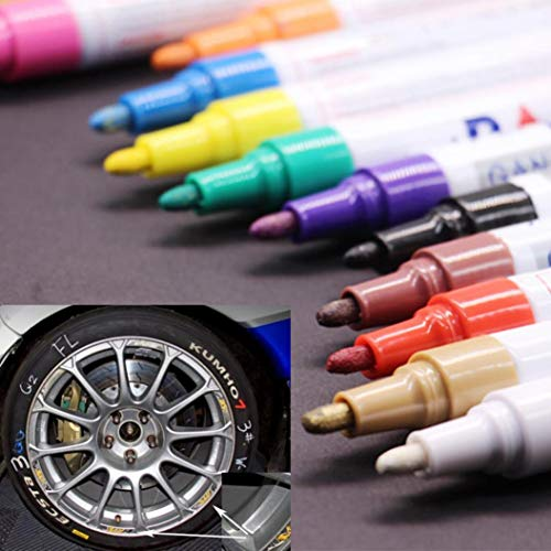(Glumes Permanent Paint pens, Paint Marking Pen for Car/Motor/Bike Tire|Rubber|Metal Acces|Rock Painting|Stone|Ceramic|Glass|Extra Bright|Water Resistant |Water Based Paint (✎Silver))