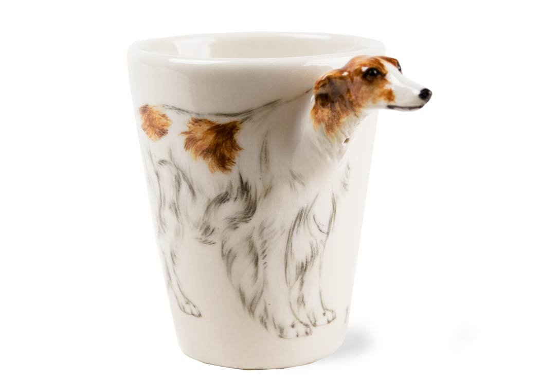 Borzoi 8oz Cream Handmade Coffee Mug (10cm x 8cm)