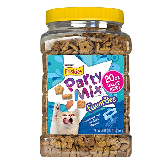 Purina Friskies Party Mix Favorites, Sensational Seafood Flavor, 20-Ounce Canister, Pack of 1