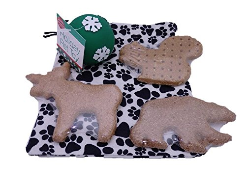 North Woods Dog Puppy Bag - Large Treats and Squeaky Toy in a Reusable Cotton Gift Bag with Drawstring Closure Made in USA (Green Snowflake)