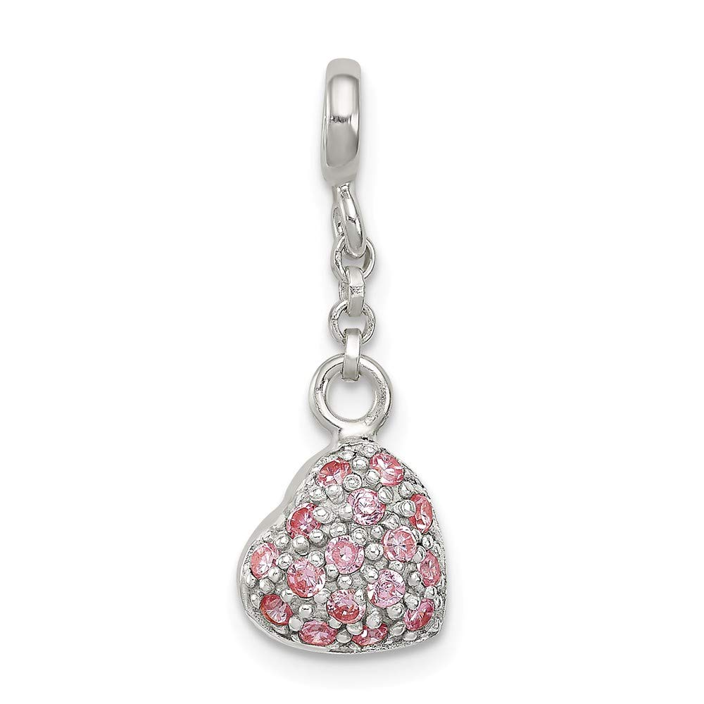 925 Sterling Silver Pink Cubic Zirconia Puffed Heart Love 1//2in Dangle Enhancer 25mm x 9mm