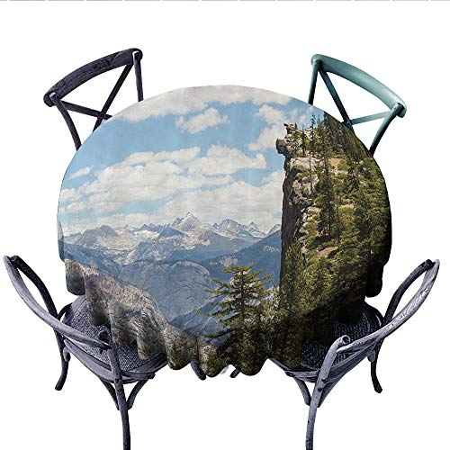 Americana Landscape Decor Dinning Tabletop DecorCliffs in Yosemite National Parks Wall Art Cathedral Peaks Area Dust-Proof Round Tablecloth (Round, 54 Inch, Green Blue) ()