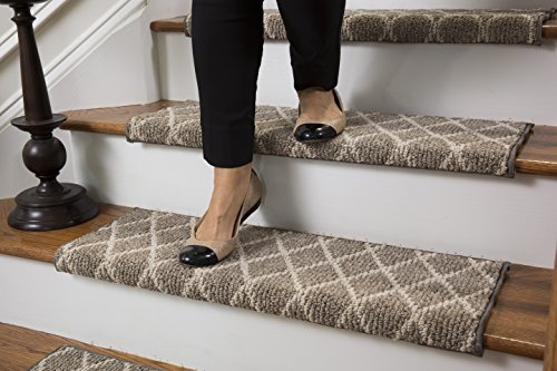 Jardin Wool Inspired Bullnose Carpet Stair Tread with Adh...