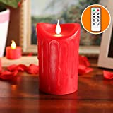 GiveU 3D Flameless LED Pillar Candle with Remote Control, Battery Operate for Wedding and Home Decoration, 3.5x5.25, Red