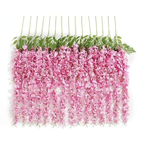 Huata 10PCS 3.2 Feet Artificial Flower Wisteria Vine Ratta Hanging Wedding Decor Garlands(Pink)]()