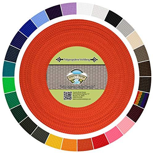 Country Brook Design   Polypropylene Webbing (1 Inch) (Orange, 25 Yards) (Headers Factory)