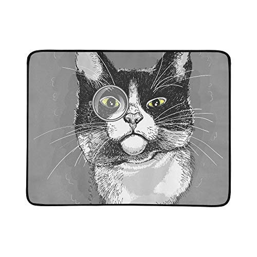 - VvxXvx Portrait of A Cat in A Monocle Pattern Portable and Foldable Blanket Mat 60x78 Inch Handy Mat for Camping Picnic Beach Indoor Outdoor Travel