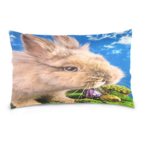 ALAZA Cute Easter Bunny with Painted Eggs Cotton Lint Pillow