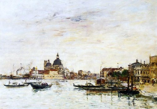 - Eugene-Louis Boudin Venice, the Mole at the Entrance of the Grand Canal and the Salute - 18.05