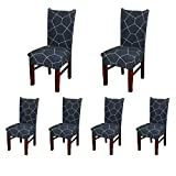 decorating dining room SoulFeel Set of 6 x Stretchable Dining Chair Covers, Spandex Chair Seat Protector Slipcovers for Holiday Banquet, Home Party, Hotel, Wedding Ceremony (Pentagon, Deep-Blue)