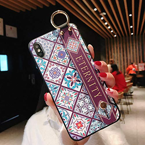 Twinlight Wrist Strap Soft TPU Phone Case for iPhone 7 8 Plus Case for iPhone X Xs max XR Vintage Flower Pattern Holder Case (one, for iPhone Xs -