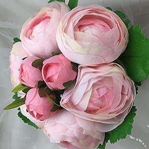 "Lily Garden 10.5"" Silk Camellia Bouquet Wedding Decor Flowers (All pink) 2"