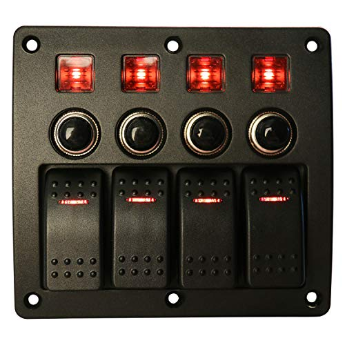 HYDDNice Waterproof Switch Panel Overload Protected Red LED Indicators Rocker Circuit Breaker for Marine Boat Yacht RV (6 Gang Switch Panel)