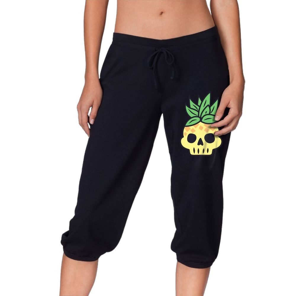 Women's Novelty Performance Pineapple Skull Print Crop Sweatpant Capri Pants Drawstring Knee Pant Black Medium by CNJELLAW