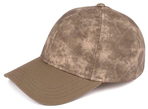 H-202-6333 Faded Denim Baseball Cap - Olive