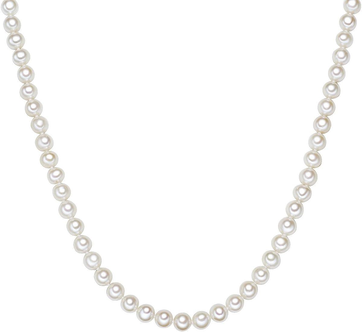 Valero Pearls Plata de ley 925 Perlas de agua dulce de cultivo Cadena de perlas