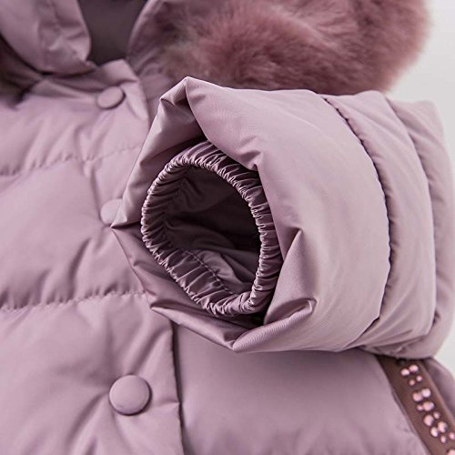 DAVE & BELLA Winter Baby Girls Down Jacket Children White Duck Down Padded Coat Kids Hooded Outerwear - Grey Pink (4T) by DAVE & BELLA (Image #6)