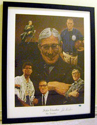 John Wooden autographed lithograph (UCLA Bruins Hall of Fame Coach) matted framed 22x30 - Autographed College Art