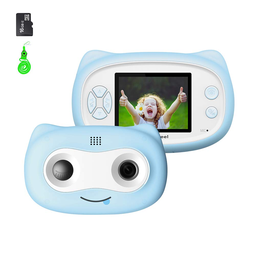 UJoyFeel Kids Camera Digital Camera for Kids 2.0 inch Toy Video Camera for Kids Girls Boys with 16GB Storage Rechargeable Battery and Soft Shockproof Case Outdoor Playing (Blue) by UJoyFeel (Image #1)
