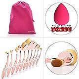 Dolovemk Pro Beauty Makeup Oval Mirror Brushes, Toothbrush Shaped, Eyebrow/Foundation/Powder/BB Cream Brushes Set + Sponge Blender + Pouch Bag (Rosegolden)