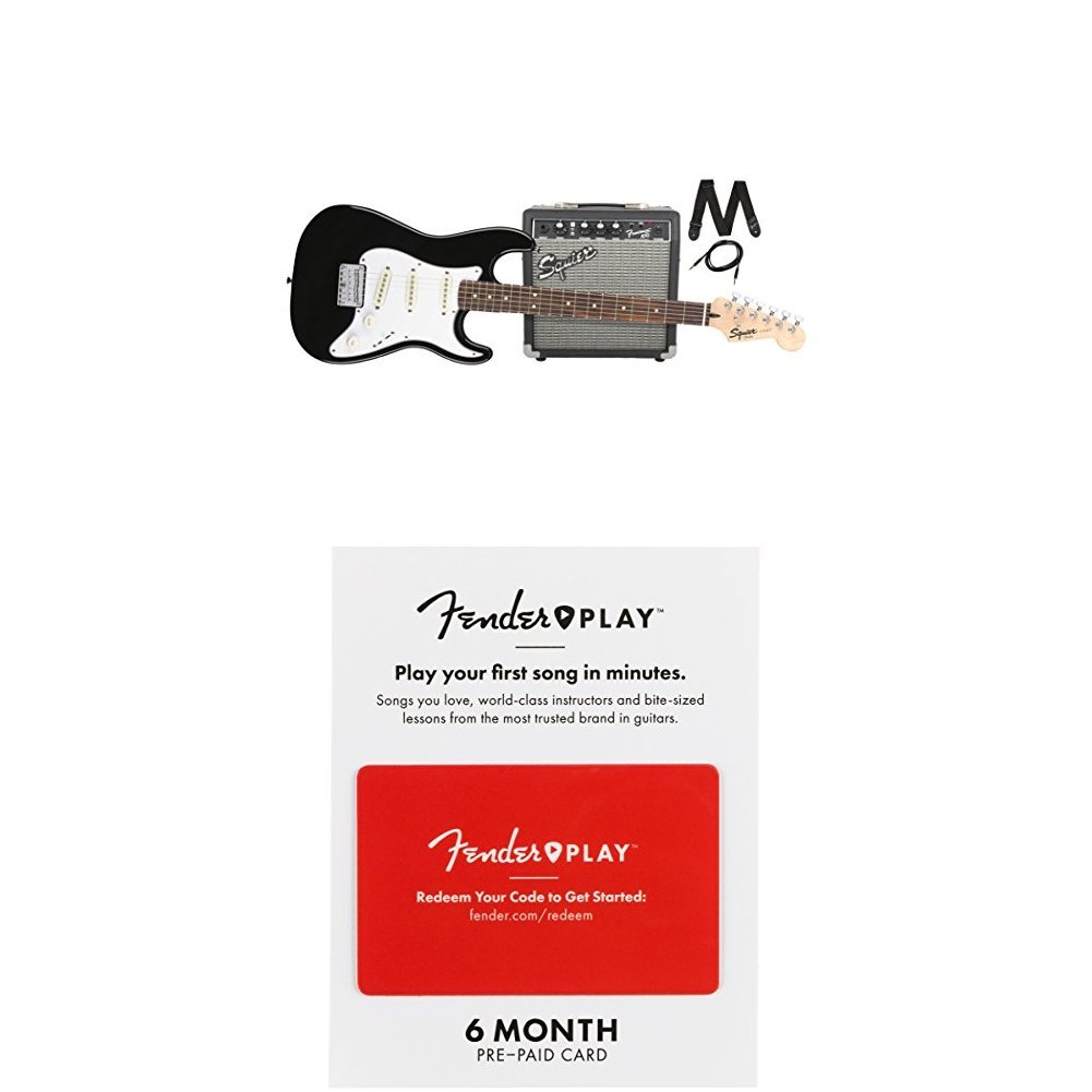 Squier By Fender Stratocaster Short Scale Beginner Strat Wiring Option Harmony Central Electric Guitar Pack With Frontman 10g Amplifier Black Finish 6 Months Of