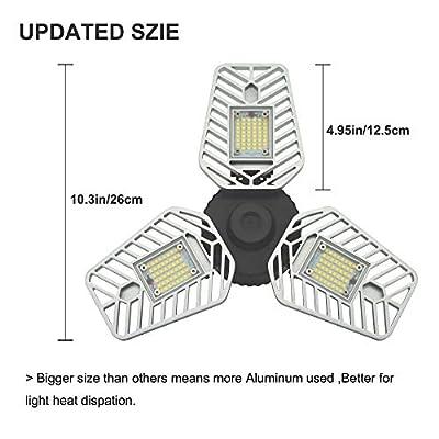 LZHOME 2-Pack LED Garage Lights, 6500Lumens Adjustable Trilights Garage Ceiling Light,60W LED Garage Ceiling Light, CRI 80, 5000k Nature Light, Garage Lights with Adjustable Panels, Led Shop Light