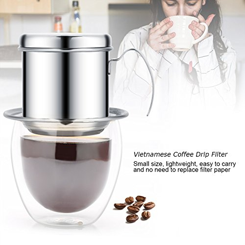 Coffee Maker Pot, Stainless Steel Cup Vietnamese Coffee Drip Filter Maker Phin Infuser Coffee Drip Brewer for Office, Home, Restaurant, Cafe Use(Sliver)