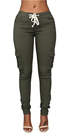 21a09e4601 Pxmoda Womens Casual Stretch Drawstring Skinny Pants Cargo Jogger Pants (S,  Army Green)