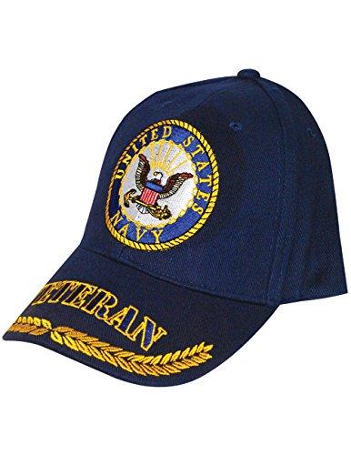 EAGLE EMBLEMS, INC. US Navy Symbol Veteran Cap 100% Cotton w/Embroidered Branch Logo