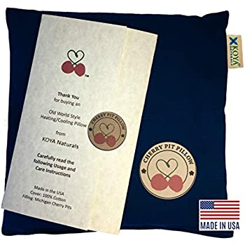 KOYA Naturals Heating Pad Microwavable - Cherry Pit/Stone/Seed Pillow Heat Pack for Neck, Muscles, Joints, Stomach Pain, Menstrual Cramps - Warm Compress Neck Wrap - Moist Heat Therapy (Dark Blue)