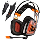 SADES A8 7.1 Surround Sound Over Ear PC USB Gaming Headset with Microphone Vibration Noise Canceling LED Light (Black)