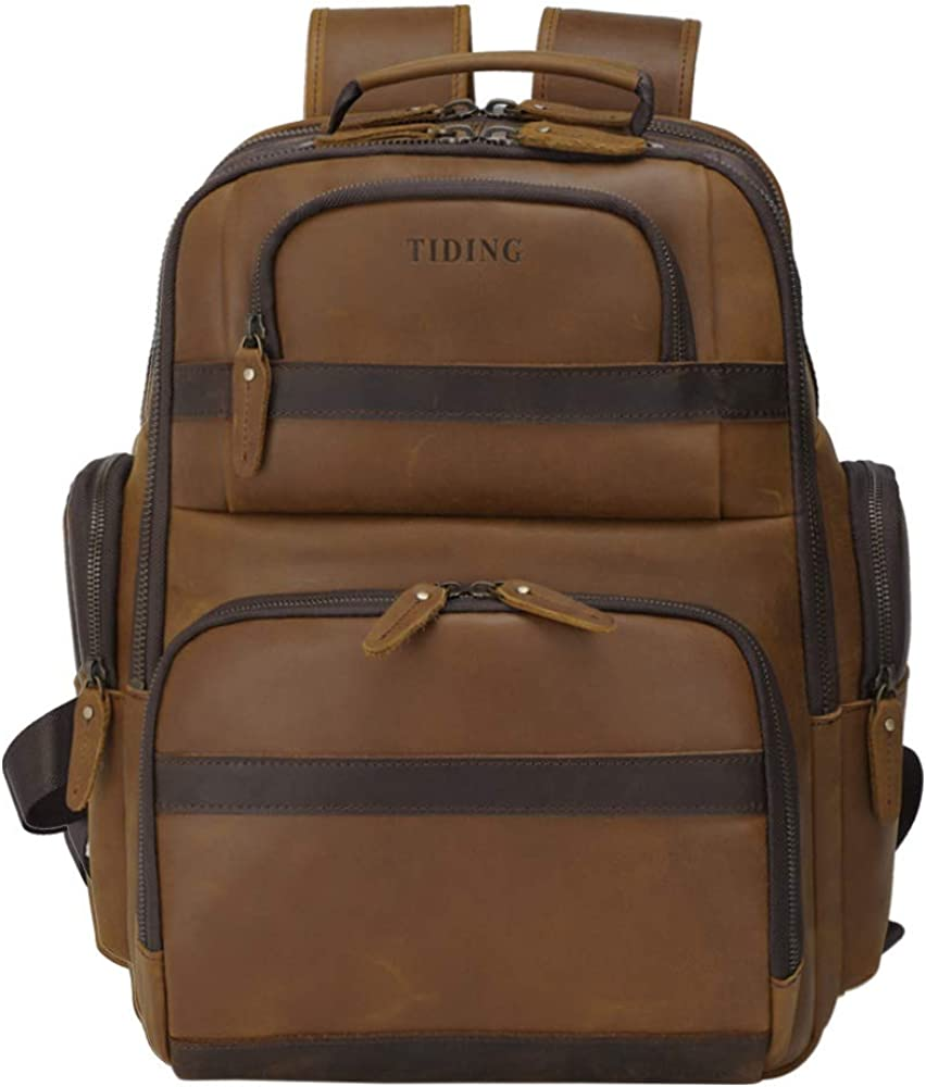 Tiding Men's Leather Backpack Vintage 15.6 Inch Laptop Bag Large Capacity Business Travel Hiking Shoulder Daypacks