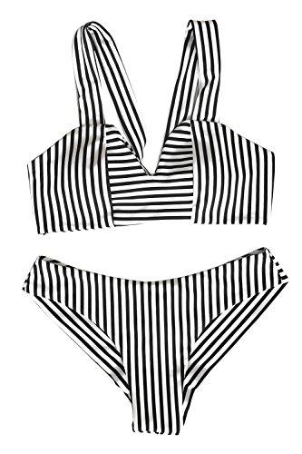 Cupshe Fashion Women S Special For You Stripe Bikini Set Beach Swimwear Bathing Suit  M