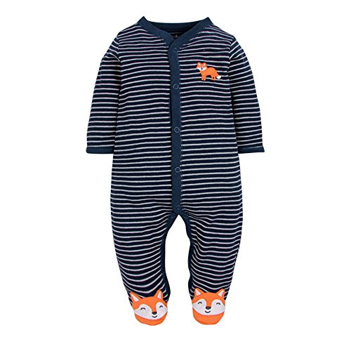 Babe Maps Striped Footed Pajama Sleeper 100% Cotton,Cute Little Fox Footed