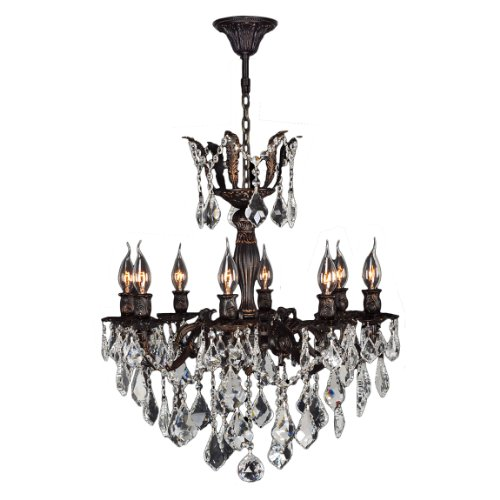 ersailles Collection 8 Light Flemish Brass Finish and Clear Crystal Chandelier 23