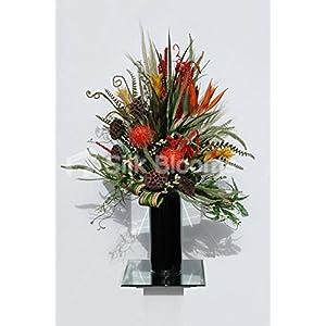Orange Birds of Paradise Lotus Pods & Protea Floral Vase Display 81