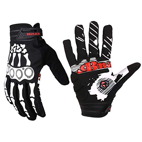 BRZSACR Unisex BMX MX ATV MTB Racing Mountain Bike Bicycle Cycling Off-Road/Dirt Bike Gloves Road Racing Motorcycle Motocross Sports Gloves Touch Recognition Full Finger Glove (Black, M)