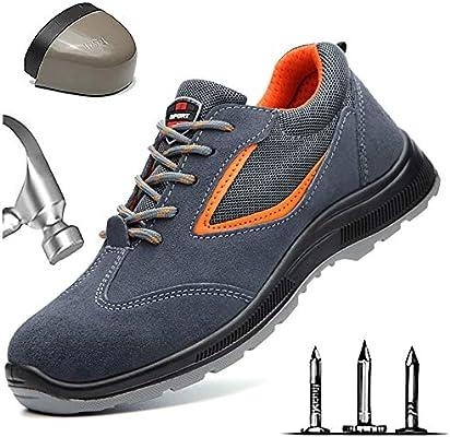 HOAPL Zapatos de Seguridad para Hombres Gorras con Punta de Acero Calzado de Trabajo Sitio de construcción Botas de Seguridad para Trabajadores Anti-pinchazos Zapatillas de Deporte,Gris,38: Amazon.es: Hogar