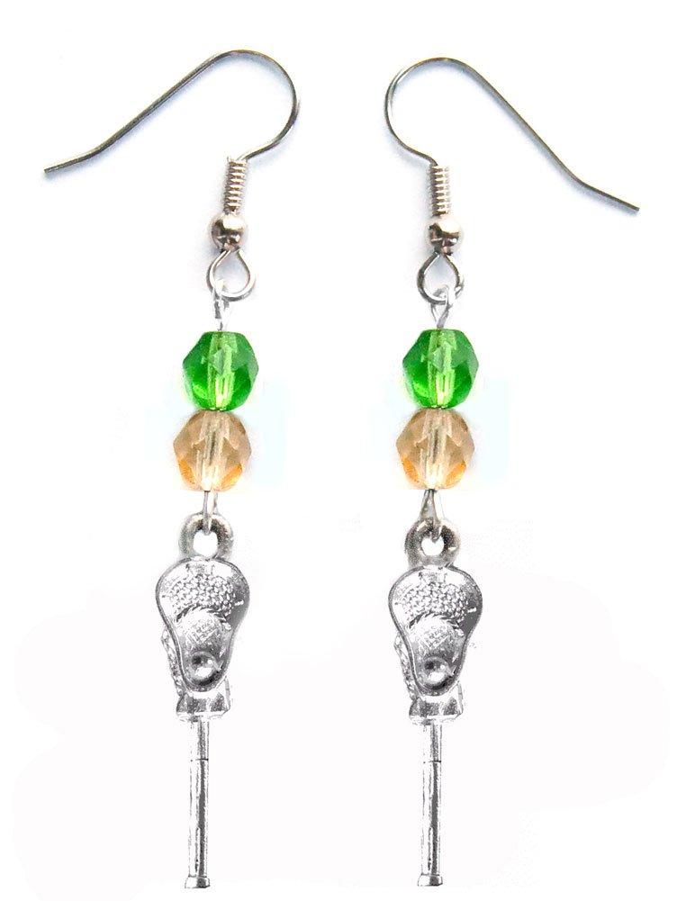 ''Lacrosse Stick & Ball'' Lacrosse Earrings (Team Colors Kelly Green & Gold)