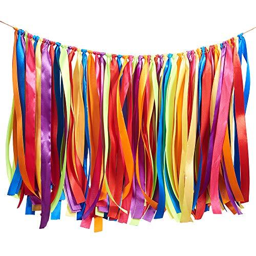 (WANDIC Colorful Ribbon Tassel Garland, Fabric Banner Backdrop for Baby Shower, Weddings, Birthday, Anniversary, Graduation Party Decoration Supplies)
