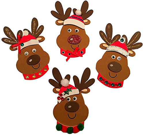 Christmas Holiday Foam Reindeer Ornament Craft Bundle for Kids of all ages - Everything you need to Makes 12